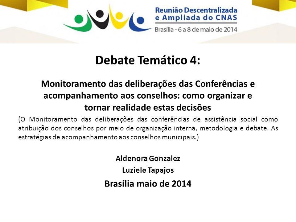 Debate Temático 4: Monitoramento das deliberações das Conferências e acompanhamento aos conselhos: como organizar e tornar realidade estas decisões.