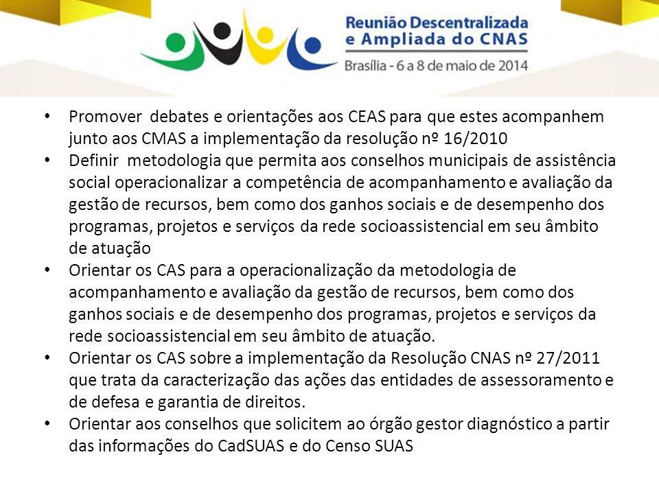 Promover debates e orientações aos CEAS para que estes acompanhem junto aos CMAS a implementação da resolução nº 16/2010
