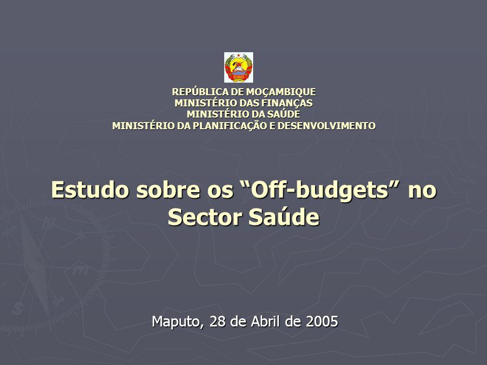 REPÚBLICA DE MOÇAMBIQUE MINISTÉRIO DAS FINANÇAS MINISTÉRIO DA SAÚDE MINISTÉRIO DA PLANIFICAÇÃO E DESENVOLVIMENTO Estudo sobre os Off-budgets no Sector Saúde