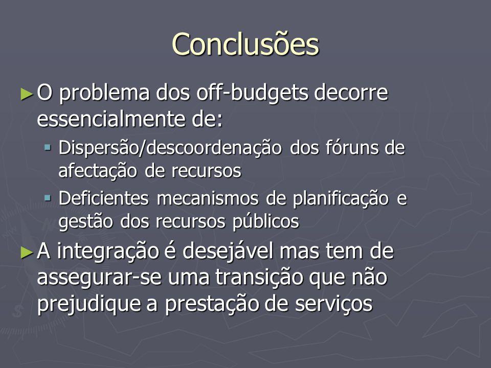 Conclusões O problema dos off-budgets decorre essencialmente de: