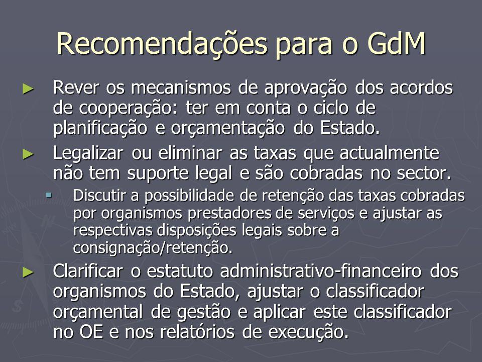 Recomendações para o GdM