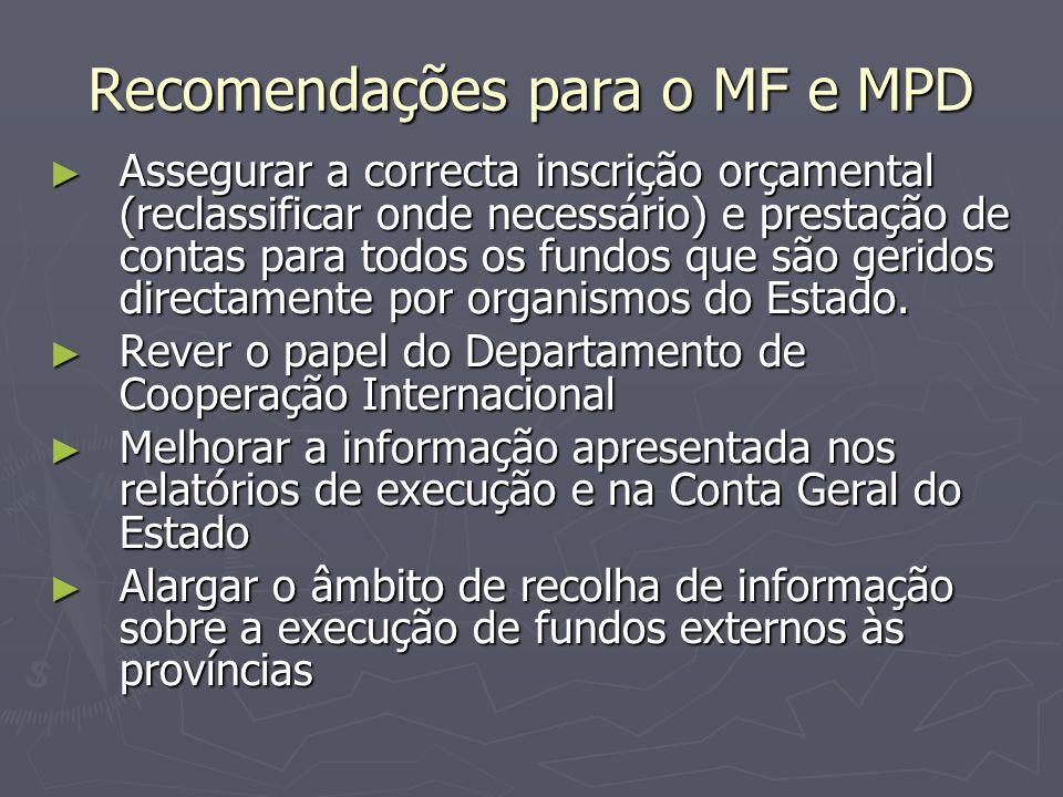 Recomendações para o MF e MPD
