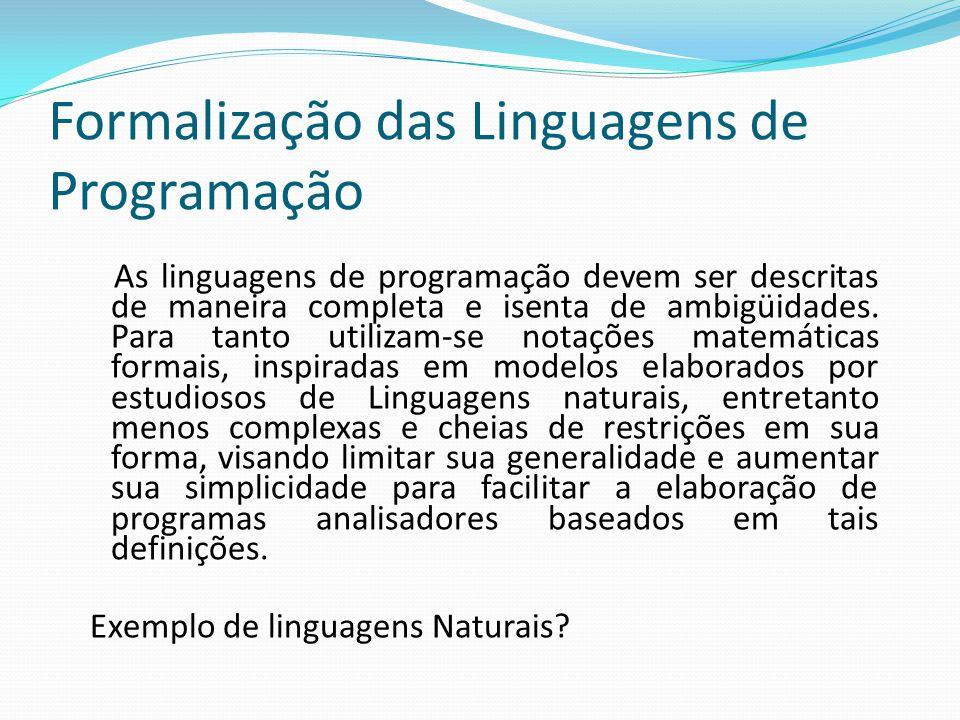 Formalização das Linguagens de Programação