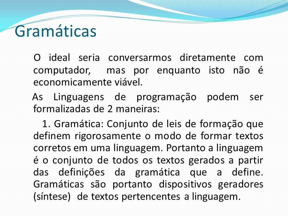 Gramáticas O ideal seria conversarmos diretamente com computador, mas por enquanto isto não é economicamente viável.