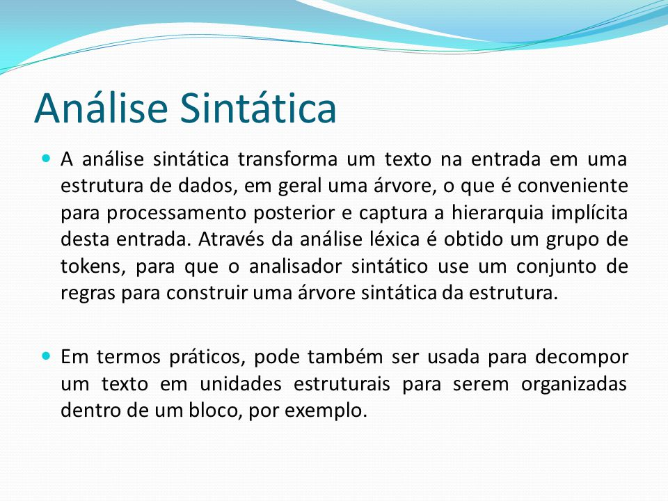 Análise Sintática