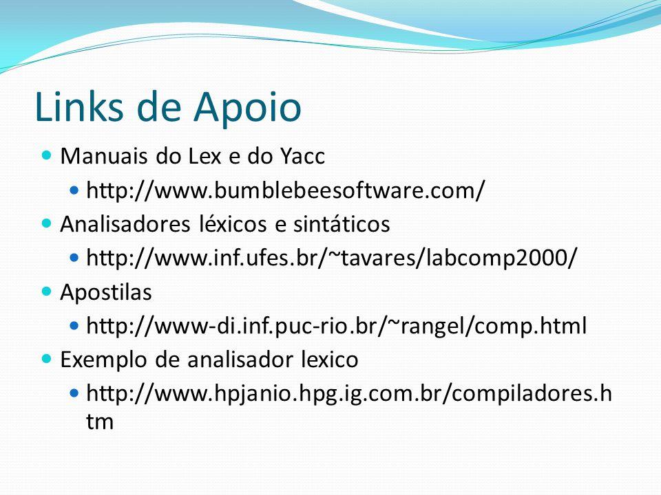 Links de Apoio Manuais do Lex e do Yacc