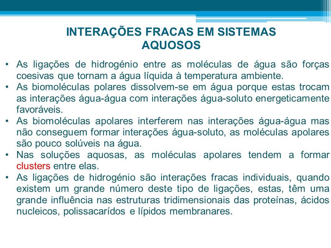 INTERAÇÕES FRACAS EM SISTEMAS AQUOSOS