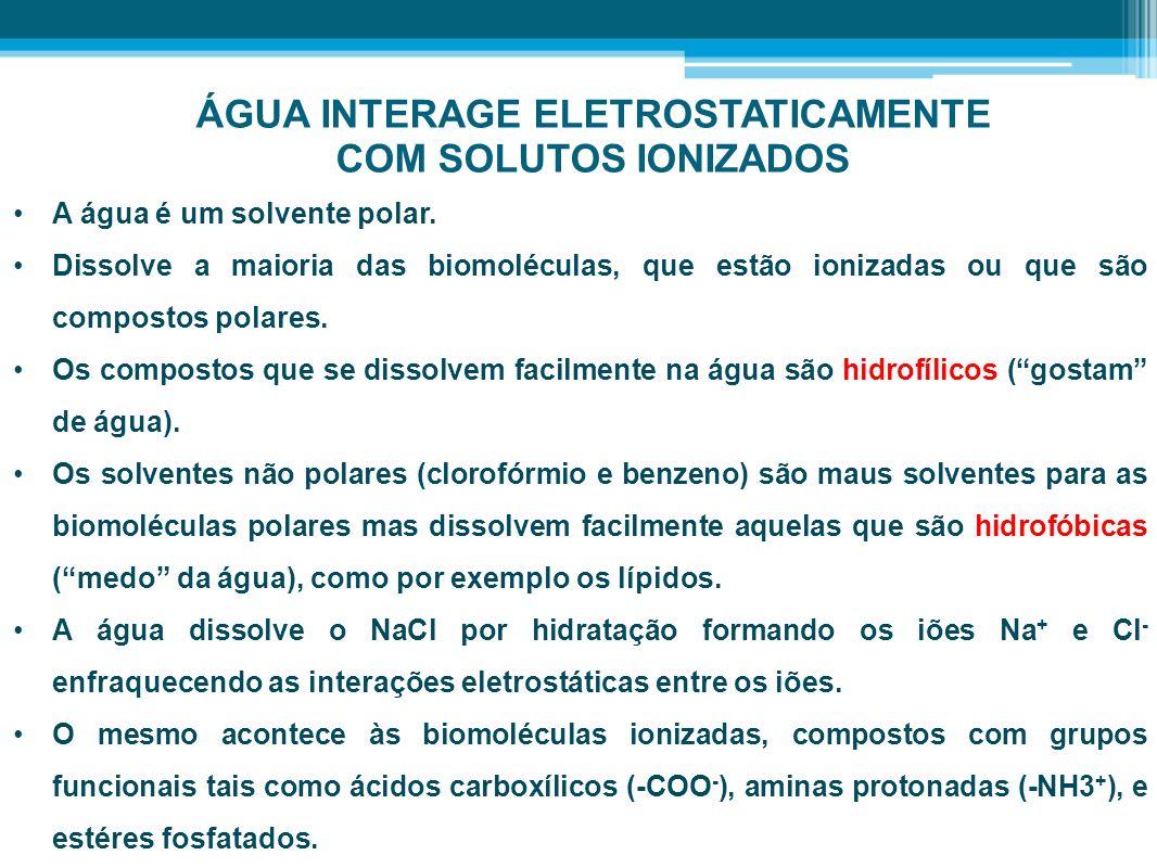 ÁGUA INTERAGE ELETROSTATICAMENTE COM SOLUTOS IONIZADOS