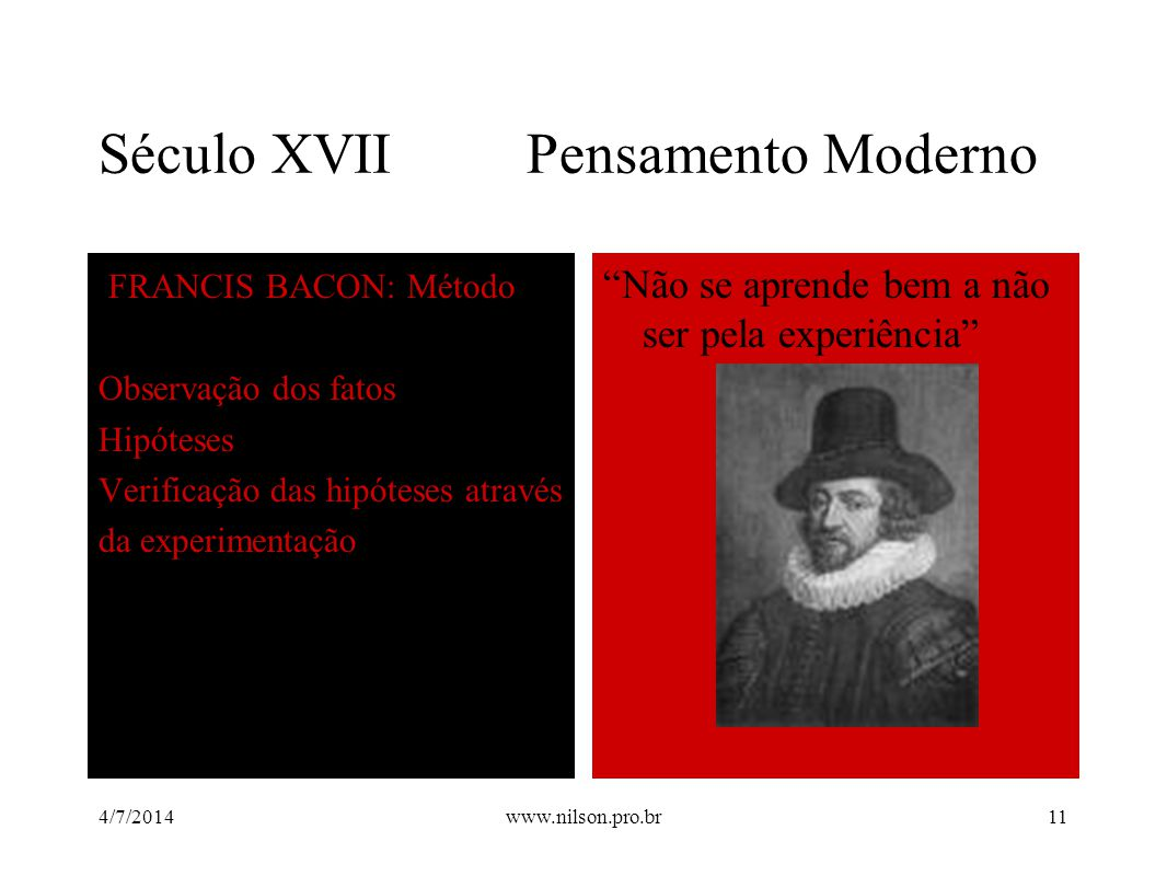 Século XVII Pensamento Moderno