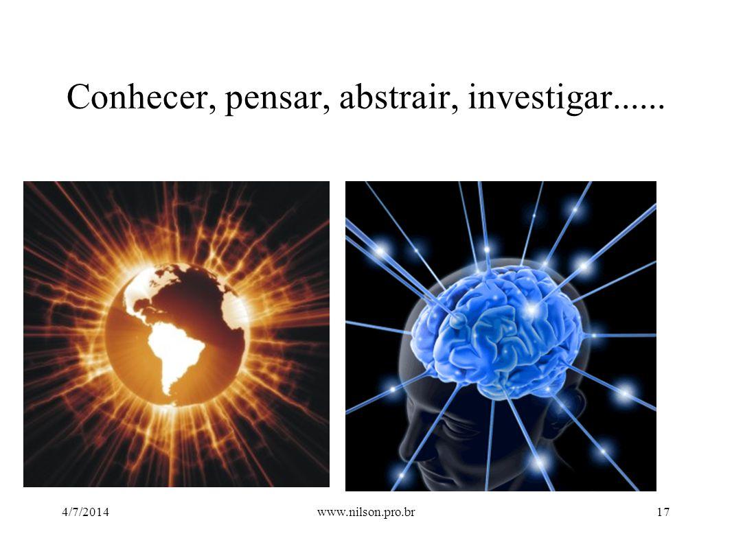 Conhecer, pensar, abstrair, investigar......