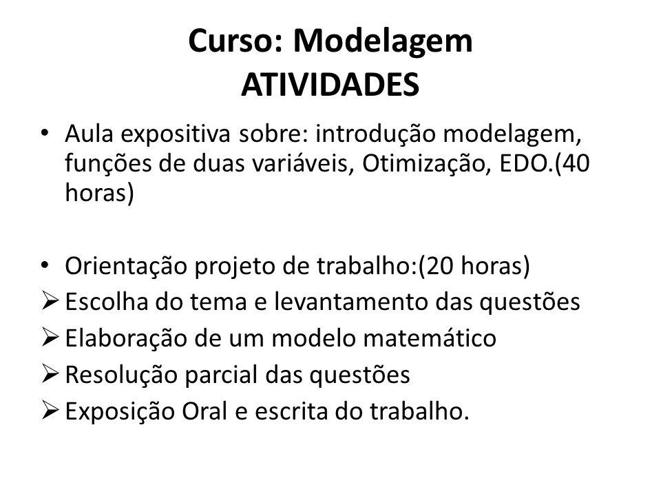 Curso: Modelagem ATIVIDADES