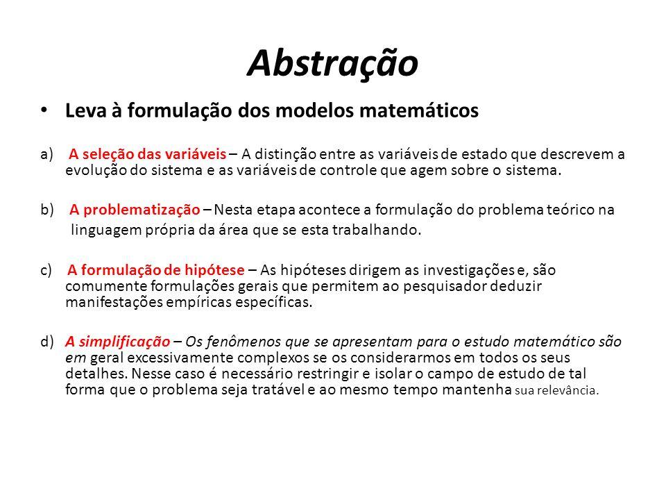 Abstração Leva à formulação dos modelos matemáticos