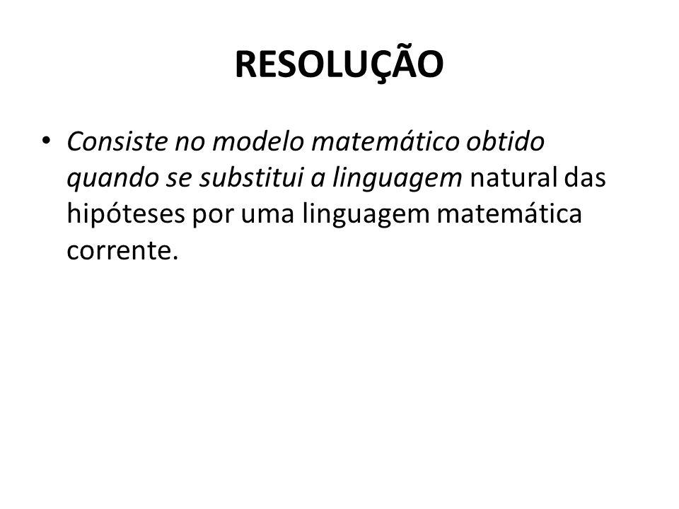 RESOLUÇÃO Consiste no modelo matemático obtido quando se substitui a linguagem natural das hipóteses por uma linguagem matemática corrente.