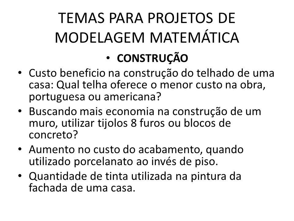 TEMAS PARA PROJETOS DE MODELAGEM MATEMÁTICA