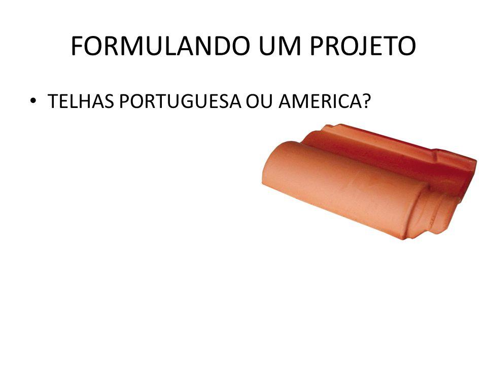 FORMULANDO UM PROJETO TELHAS PORTUGUESA OU AMERICA