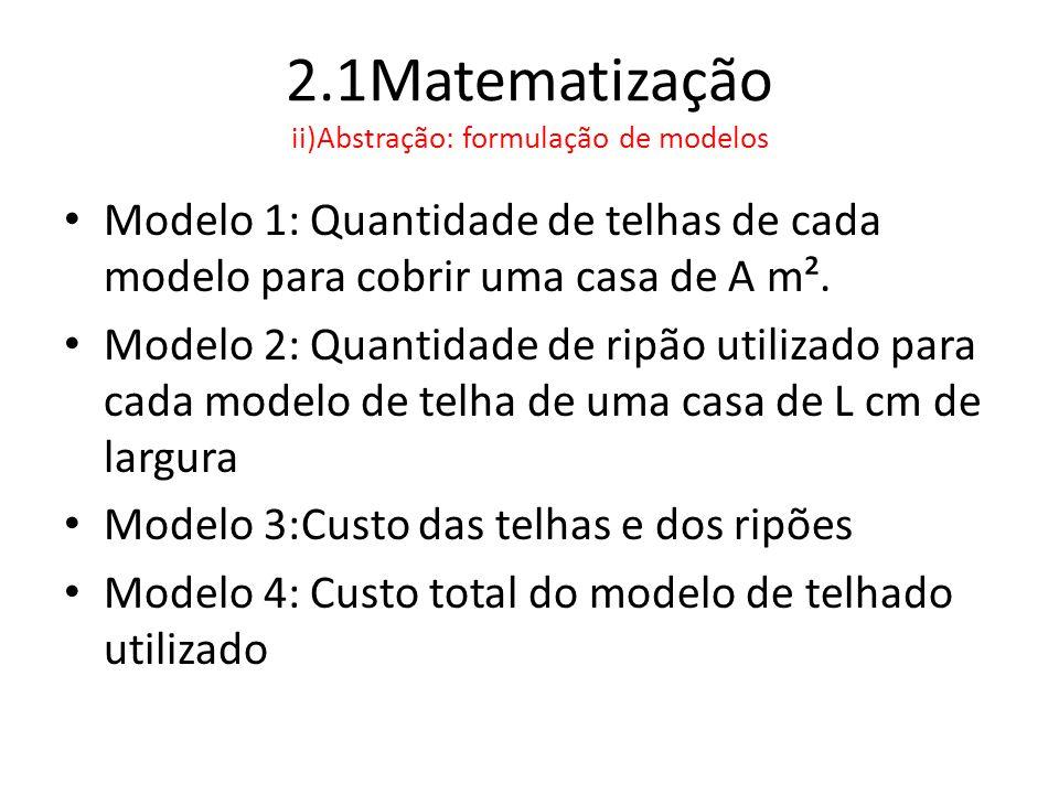 2.1Matematização ii)Abstração: formulação de modelos