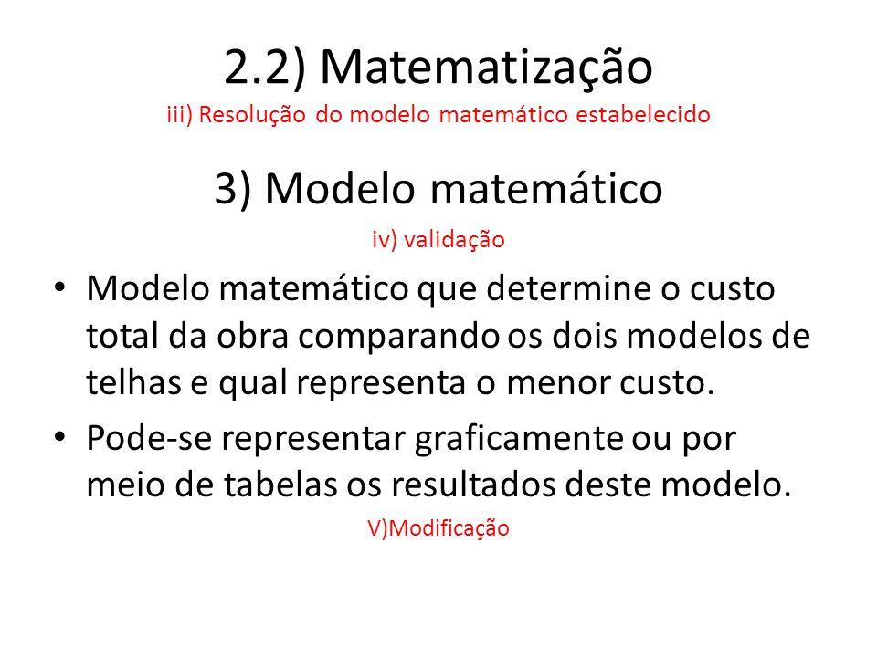 2.2) Matematização iii) Resolução do modelo matemático estabelecido