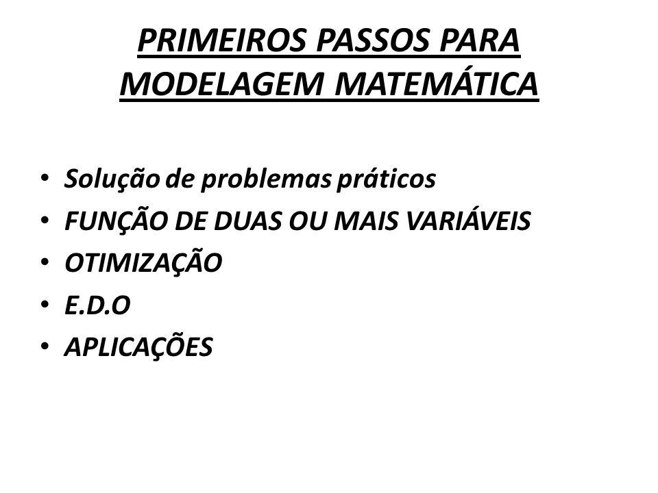 PRIMEIROS PASSOS PARA MODELAGEM MATEMÁTICA
