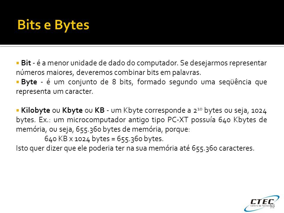 Bits e Bytes Bit - é a menor unidade de dado do computador. Se desejarmos representar números maiores, deveremos combinar bits em palavras.
