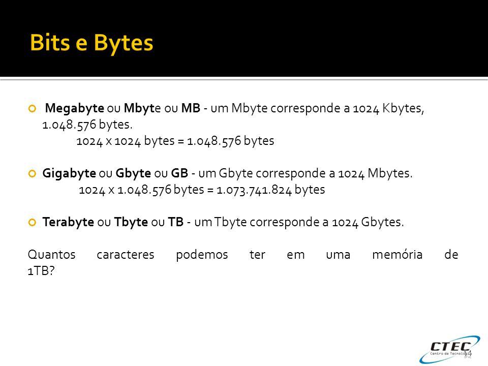 Bits e Bytes Megabyte ou Mbyte ou MB - um Mbyte corresponde a 1024 Kbytes, 1.048.576 bytes. 1024 x 1024 bytes = 1.048.576 bytes.