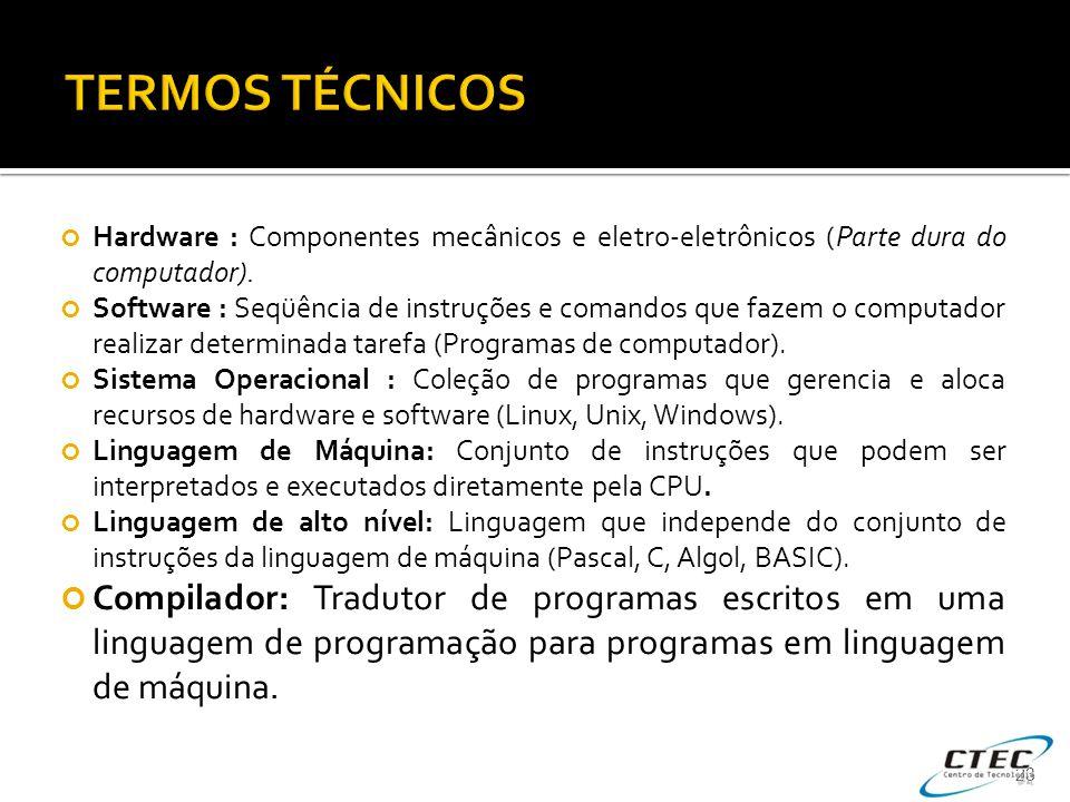 TERMOS TÉCNICOS Hardware : Componentes mecânicos e eletro-eletrônicos (Parte dura do computador).
