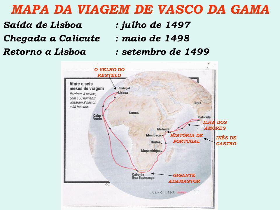 MAPA DA VIAGEM DE VASCO DA GAMA