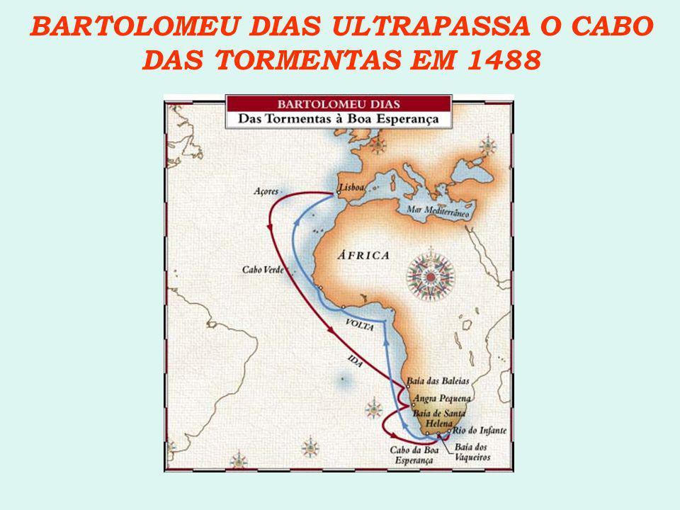 BARTOLOMEU DIAS ULTRAPASSA O CABO DAS TORMENTAS EM 1488