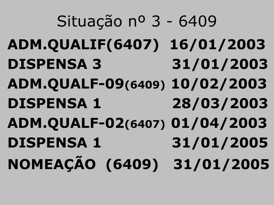 Situação nº 3 - 6409 ADM.QUALIF(6407) 16/01/2003 DISPENSA 3 31/01/2003