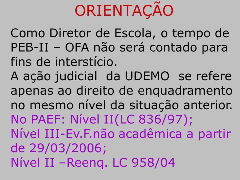 ORIENTAÇÃO Como Diretor de Escola, o tempo de PEB-II – OFA não será contado para fins de interstício.