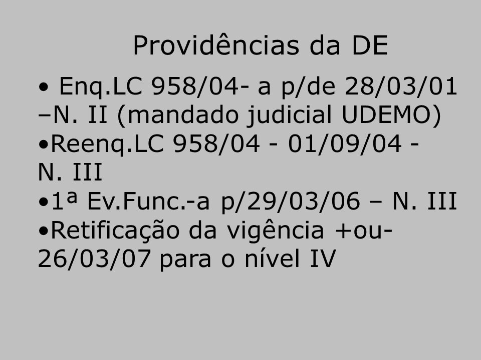 Providências da DE Enq.LC 958/04- a p/de 28/03/01 –N. II (mandado judicial UDEMO) Reenq.LC 958/04 - 01/09/04 - N. III.