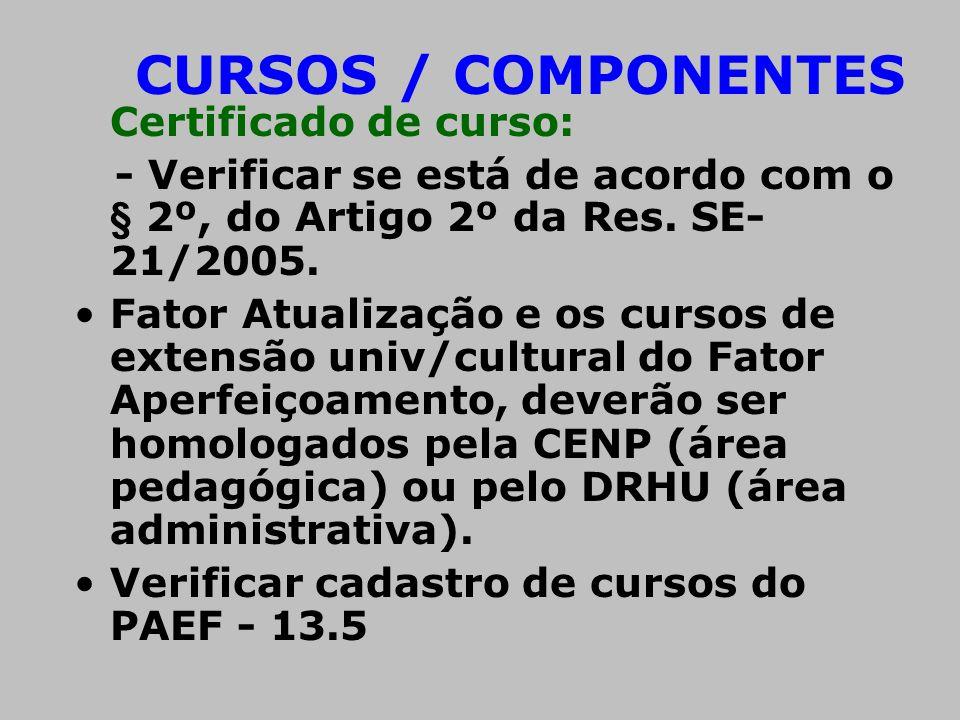CURSOS / COMPONENTES Certificado de curso: - Verificar se está de acordo com o § 2º, do Artigo 2º da Res. SE-21/2005.