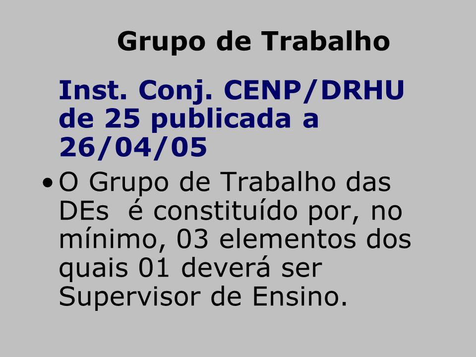 Grupo de Trabalho Inst. Conj. CENP/DRHU de 25 publicada a 26/04/05.