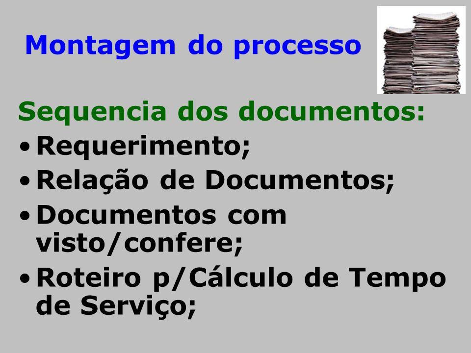 Montagem do processo Sequencia dos documentos: Requerimento; Relação de Documentos; Documentos com visto/confere;