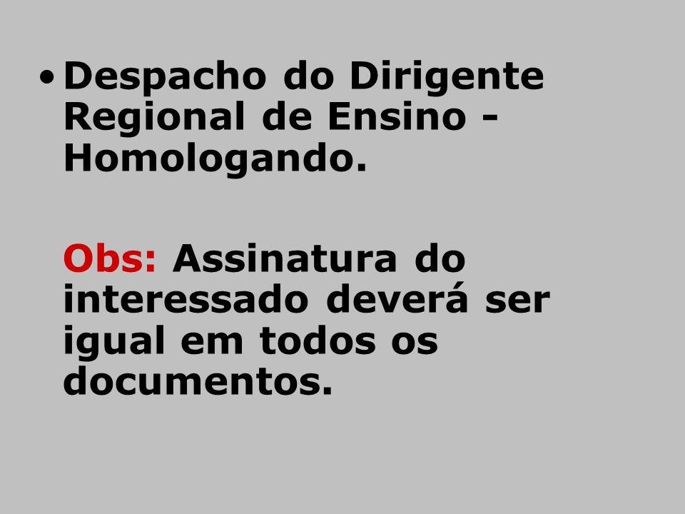 Despacho do Dirigente Regional de Ensino - Homologando.