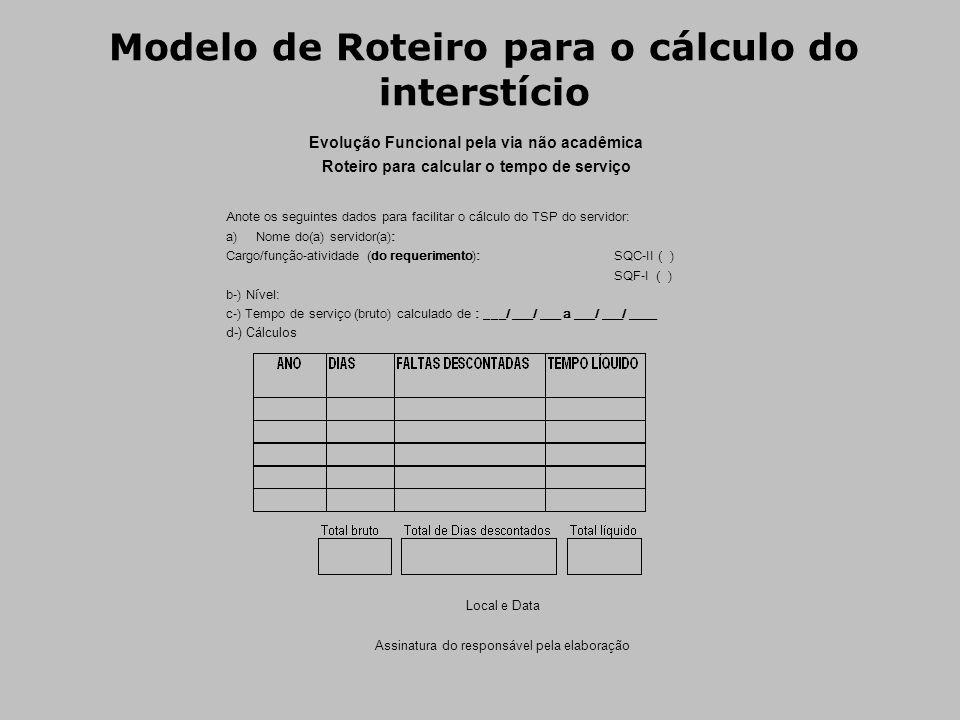 Modelo de Roteiro para o cálculo do interstício