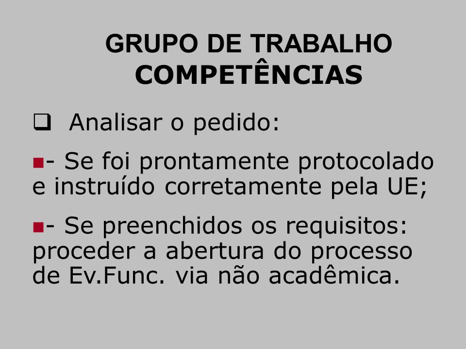 GRUPO DE TRABALHO COMPETÊNCIAS