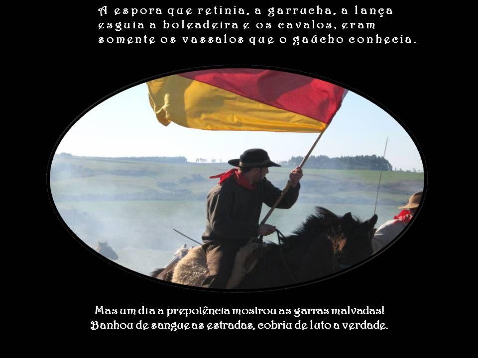 A espora que retinia, a garrucha, a lança esguia a boleadeira e os cavalos, eram somente os vassalos que o gaúcho conhecia.