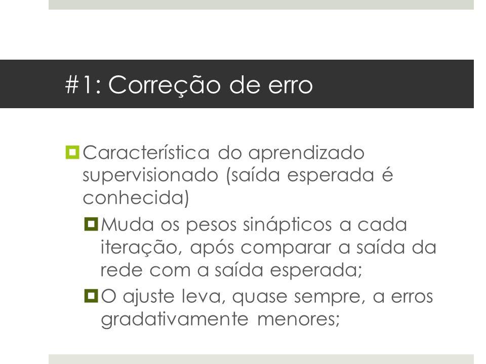 #1: Correção de erro Característica do aprendizado supervisionado (saída esperada é conhecida)