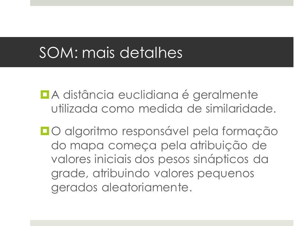 SOM: mais detalhes A distância euclidiana é geralmente utilizada como medida de similaridade.