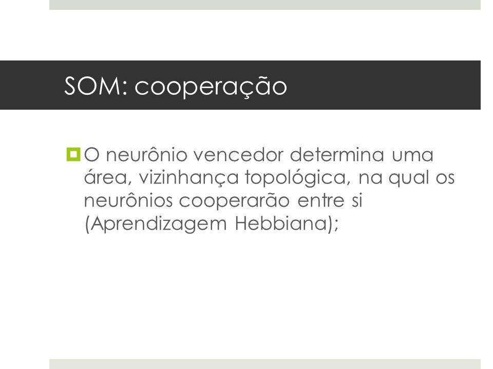 SOM: cooperação O neurônio vencedor determina uma área, vizinhança topológica, na qual os neurônios cooperarão entre si (Aprendizagem Hebbiana);