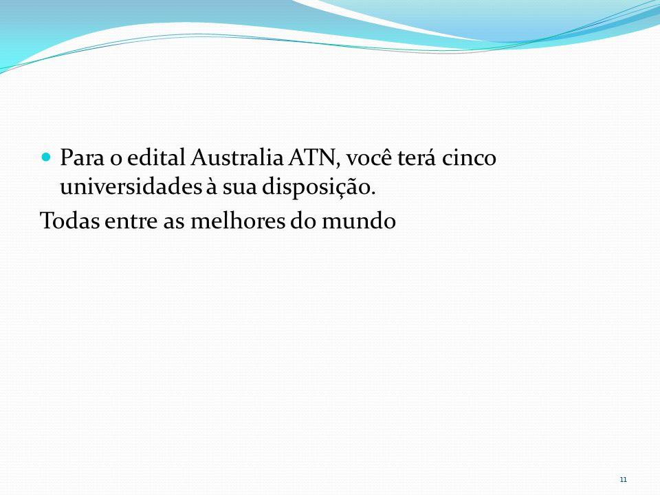 Para o edital Australia ATN, você terá cinco universidades à sua disposição.