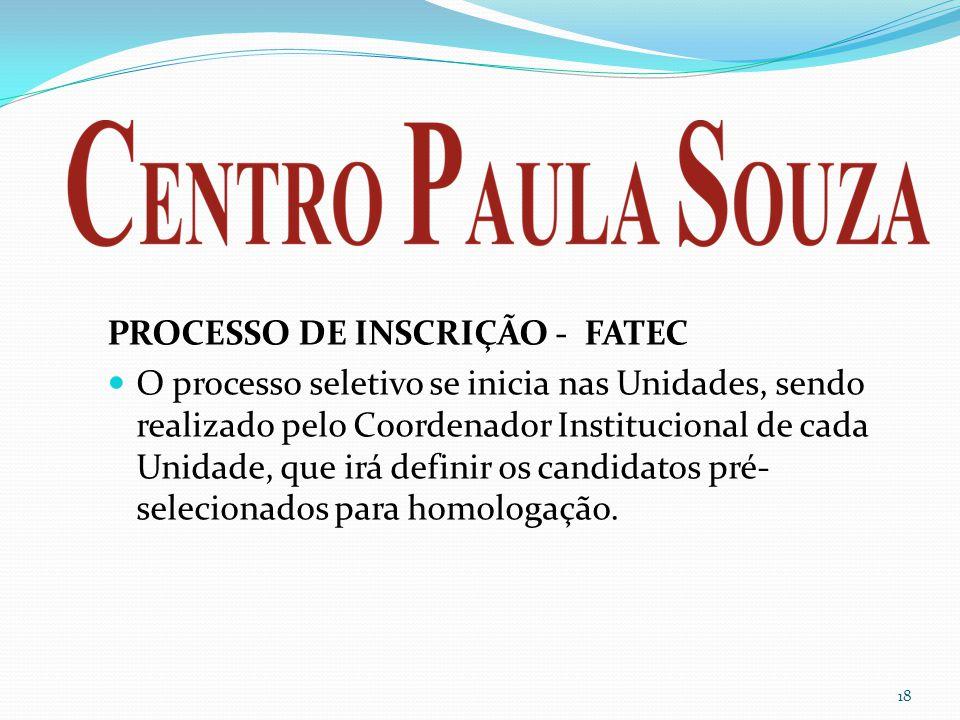 PROCESSO DE INSCRIÇÃO - FATEC