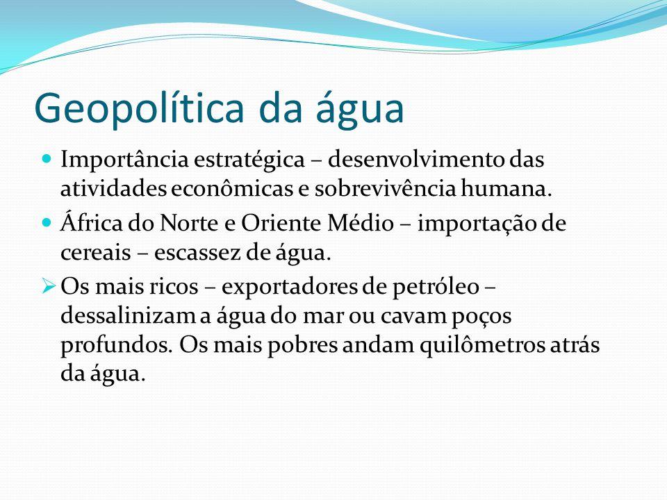 Geopolítica da água Importância estratégica – desenvolvimento das atividades econômicas e sobrevivência humana.