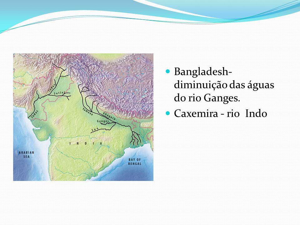 Bangladesh- diminuição das águas do rio Ganges.
