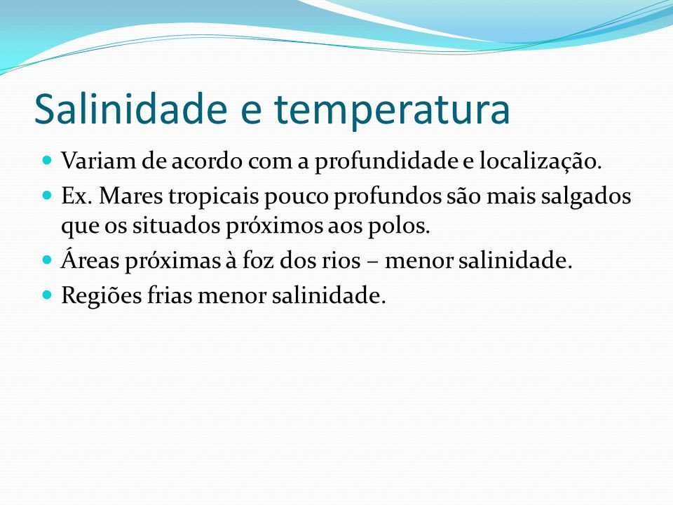 Salinidade e temperatura