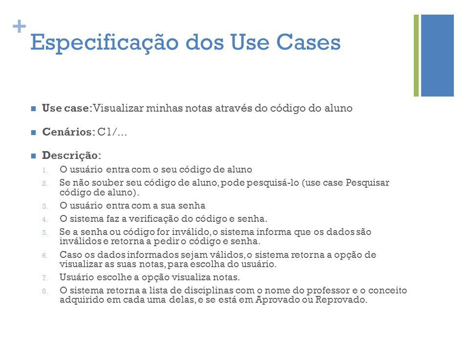 Especificação dos Use Cases