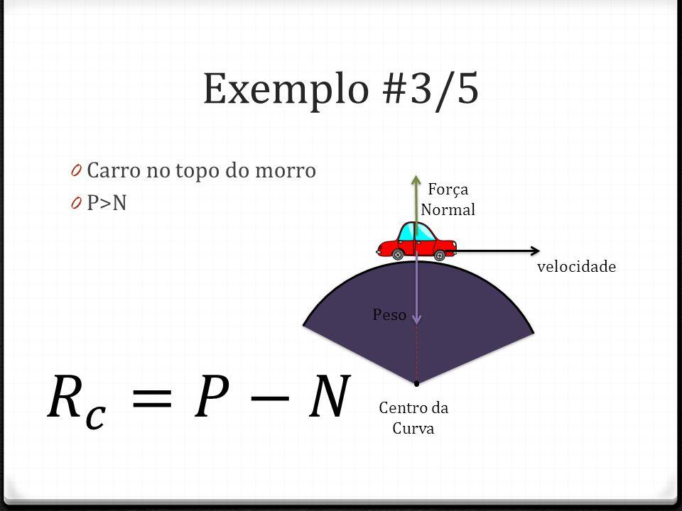 𝑅 𝑐 =𝑃−𝑁 Exemplo #3/5 Carro no topo do morro P>N Força Normal