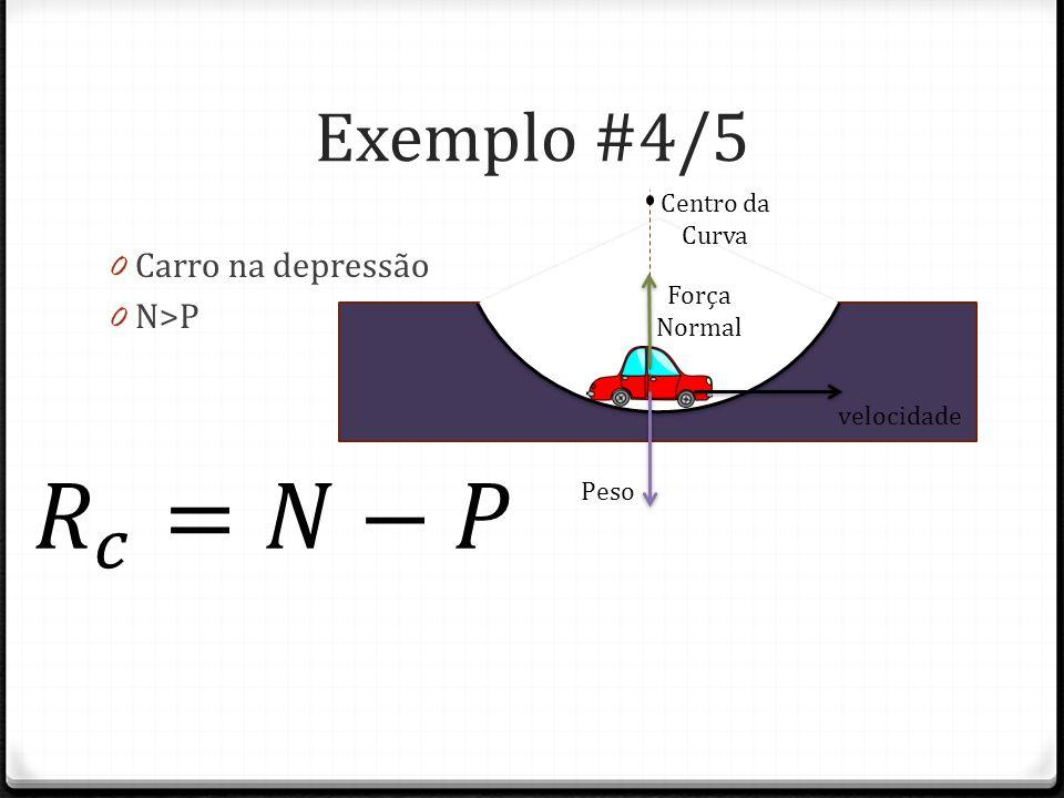 𝑅 𝑐 =𝑁−𝑃 Exemplo #4/5 Carro na depressão N>P Centro da Curva