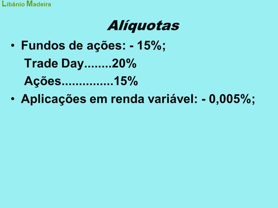 Alíquotas Fundos de ações: - 15%; Trade Day........20%