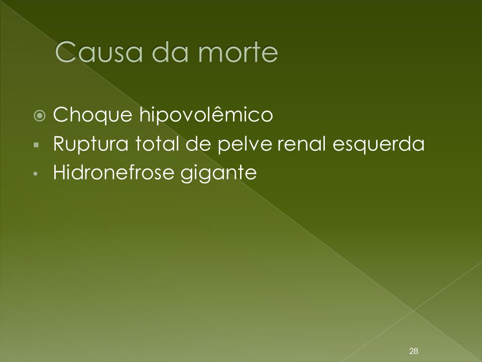 Choque hipovolêmico Ruptura total de pelve renal esquerda Hidronefrose gigante